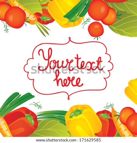 Vector illustration borders background with vegetables: pepper, tomato, dill, cabbage, onions, carrots. - stock vector