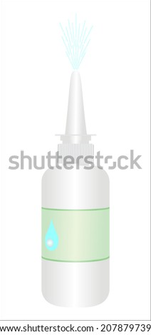Vector illustration bottle nasal spray - stock vector