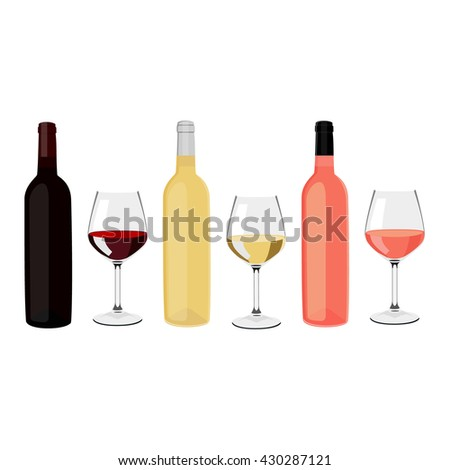 Vector illustration bottles of wine and wine glasses with red, white and rose wine. Bottles and glasses. Wineglass - stock vector