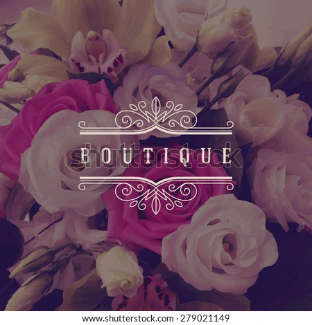 Vector illustration - boutique logo template with flourishes calligraphic elegant ornament frame on a flowers background - stock vector