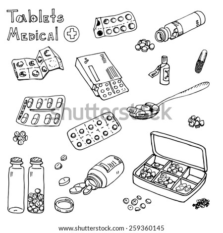vector Illustration box to receive prescription pills, drugs, medical tablets. Hand drawn - stock vector