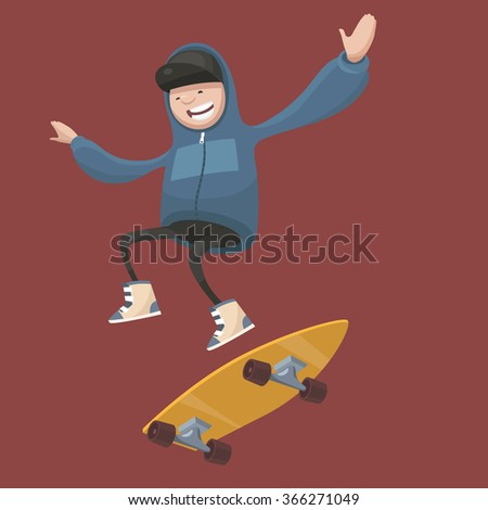 Vector illustration. Boy on  skateboard