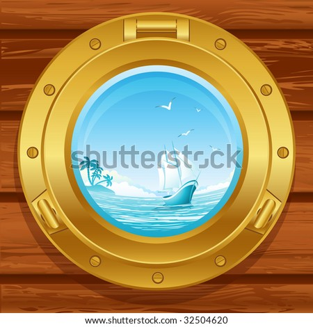 Vector illustration - brass porthole on a wooden covering - stock vector