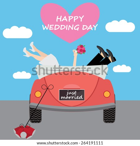 Vector illustration  bride and groom feet protruding from their wedding car and signs Just Married and Happy wedding day. Wedding background  - stock vector