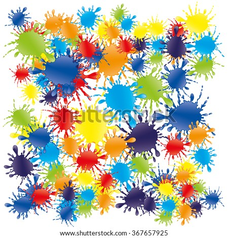 Vector illustration. Bright colorful splashes of rainbow colors on a white background