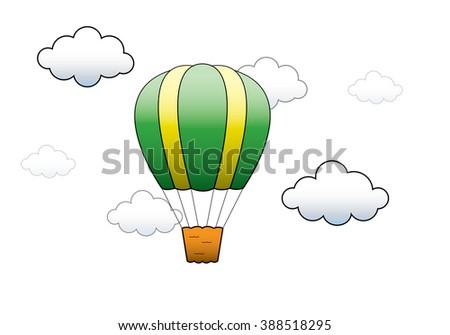 Vector illustration. Bright Hot Air Balloon flying in the sky - stock vector