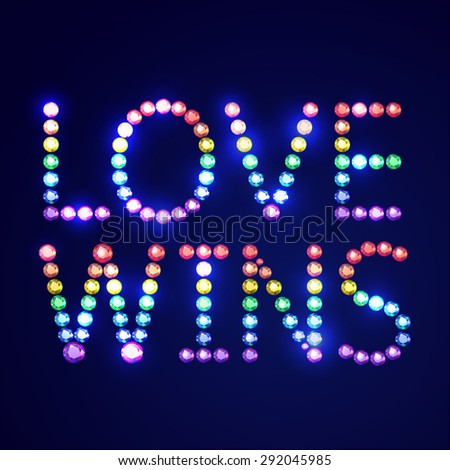 Vector illustration: bright inscription Love wins made of rainbow crystals isolated on dark blue background - stock vector