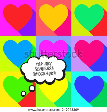 Vector illustration: bright pop art background with flat varicolored hearts and speech bubble - stock vector
