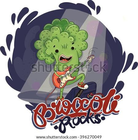 vector illustration broccoli rocks guitar fender stratocaster - stock vector