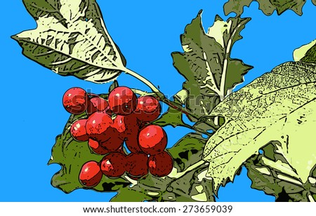 vector illustration bunch of red viburnum berries against the sky - stock vector
