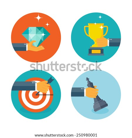 Vector illustration. Business aims concept background. Teamwork and company strategy. Achievement and smart ideas. Creativity and strategy. - stock vector