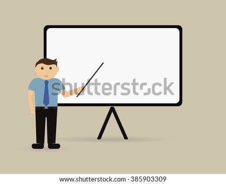 Vector illustration - business man explaining and pointing at blank white board. - stock vector