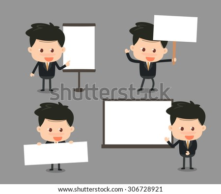 Vector. Illustration. Business man with blank signs. - stock vector