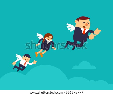 Vector Illustration Business People with Wings in Leadership Concepts. - stock vector