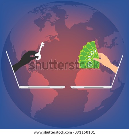 Vector illustration business technology data privacy and security concept. - stock vector