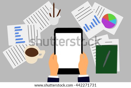 Vector illustration. Business workplace with people using digital tablet. Business concept. - stock vector
