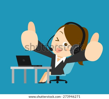 Vector illustration - Businesswoman at computer - stock vector