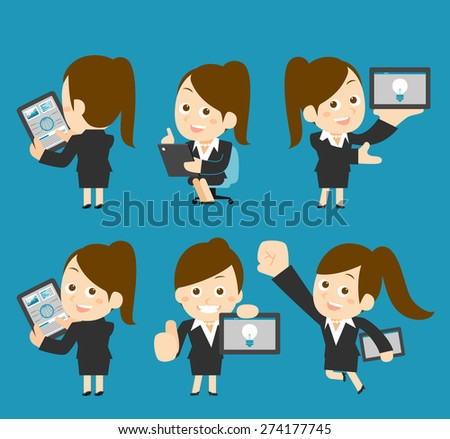 Vector illustration - Businesswoman character holding tablet pc - stock vector
