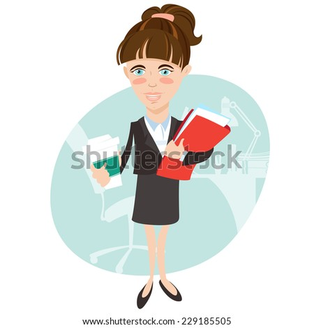 Vector illustration Businesswoman with document folder and cup of coffee. Flat style - stock vector