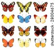 Vector illustration - butterfly icon set - stock vector