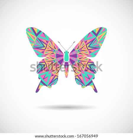 Vector illustration - butterfly on a white background - stock vector