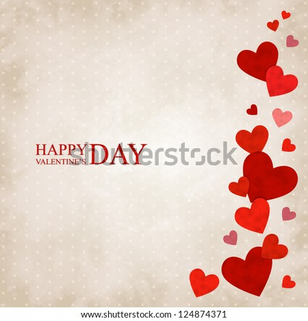 Vector illustration by Valentine's Day with red hearts on a vintage background - stock vector