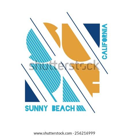 vector illustration Californian surf sunny beaches, design for t-shirts,vintage design - stock vector