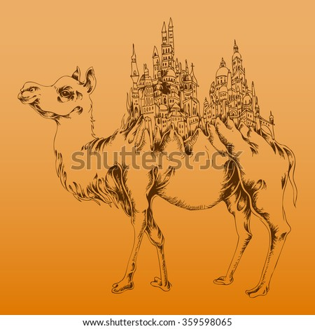 Vector illustration, camel with a town on its back, abstract hump, gradient background, card concept. - stock vector
