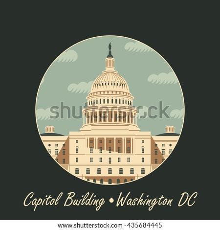 Vector illustration Capitol Building in Washington, DC - stock vector