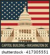 Vector illustration Capitol Building in Washington, DC with flag - stock vector
