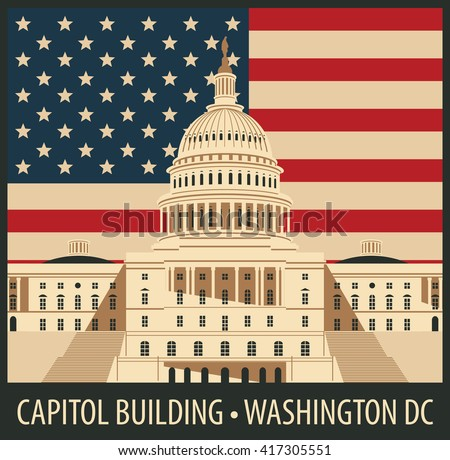 Vector illustration Capitol Building in Washington, DC with flag
