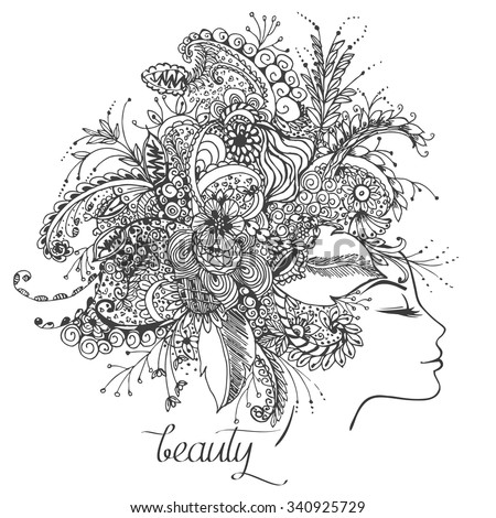 Vector illustration  card  beauty and fashion. Girl with flowers on her head. Zentangl, dudling. Adult coloring books. - stock vector