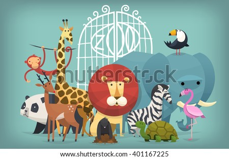 Vector illustration card with animals standing near gates inviting to visit a Zoo - stock vector