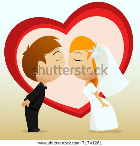 Vector illustration. Cartoon bride and groom kiss on heart shape background - stock vector