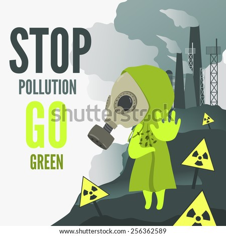 Vector Illustration, cartoon character wearing gas mask demands to stop environmental pollution. - stock vector