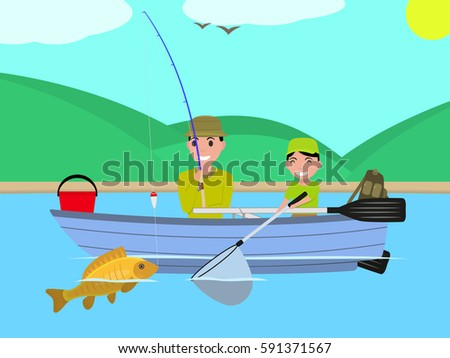 Vector illustration cartoon father son fishing stock for How to go fishing