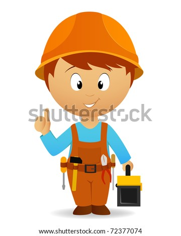 Vector illustration. Cartoon handyman with tools belt and toolbox - stock vector