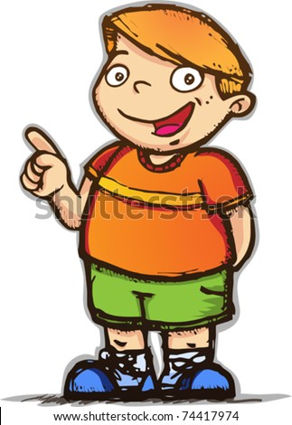 vector, illustration, cartoon, kid, children, boy, pointing, happy, smiling, son,  green,  orange, sketch, showing - stock vector