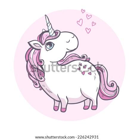 Vector illustration. Cartoon magic unicorn. - stock vector