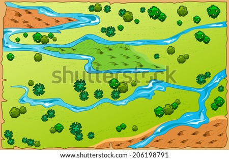 Vector illustration cartoon map of the area. top view