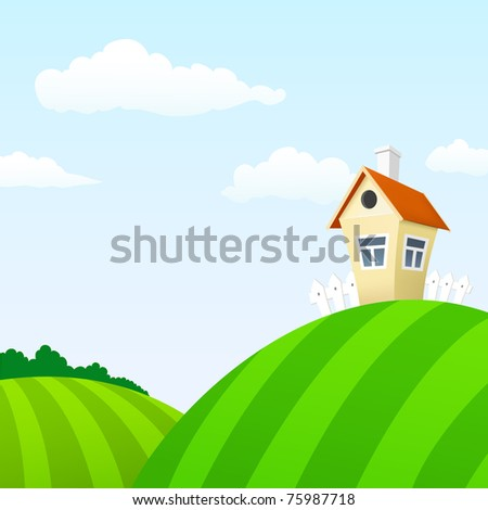 Vector illustration. Cartoon nature landscape with house and clouds