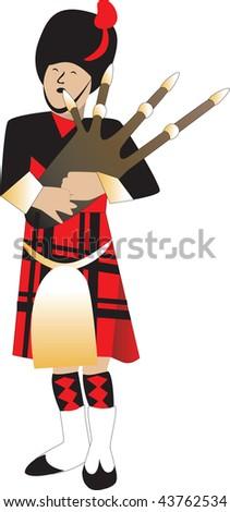 Vector Illustration cartoon of a bagpiper piping. - stock vector