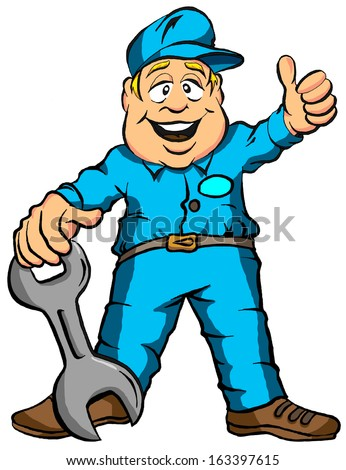 Vector Illustration Cartoon of a Mechanic Ready for Work