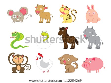 Vector illustration cartoon of cute Chinese horoscope animals symbol. - stock vector