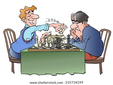 Vector illustration cartoon of two chess players - stock vector