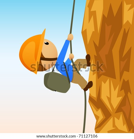 Vector illustration. Cartoon rock climber on vertical cliff - stock vector
