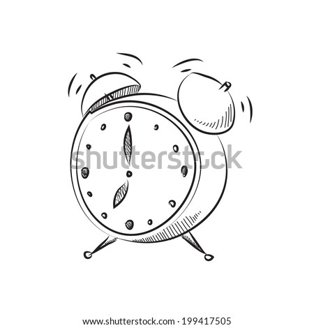vector illustration cartoon style alarm clock - stock vector