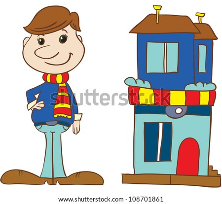 vector illustration- cartoon  young man in stripy scarf and sweater standing near  his house  on white background - stock vector