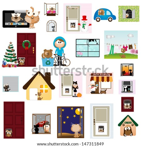 Vector illustration: Cats & dogs animal theme elements for cards and wallpaper (Part 1) - stock vector