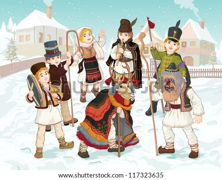 Vector illustration, celebrating winter holidays in Romania, card concept. - stock vector